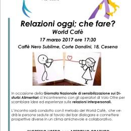 Relazioni oggi; che fare? World Cafè nella Giornata del Fiocchetto Lilla, venerdì 17 marzo, ore 17:30 a Cesena, Caffè Nero Sublime, Corte Dandini, 18