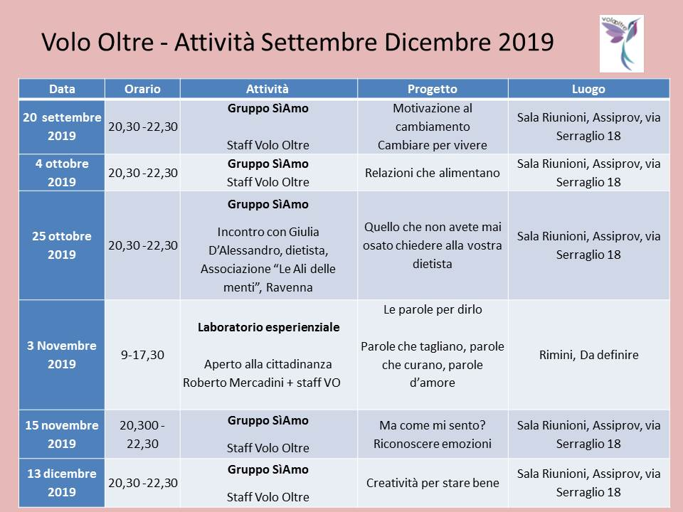 Volo Oltre - Attività Settembre Dicembre 2019